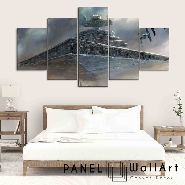 Impressionism of Imperial Star Destroyer - Star Wars | Panel Wall Art Canvas
