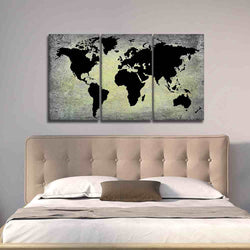 Gray Grunge Black World Map