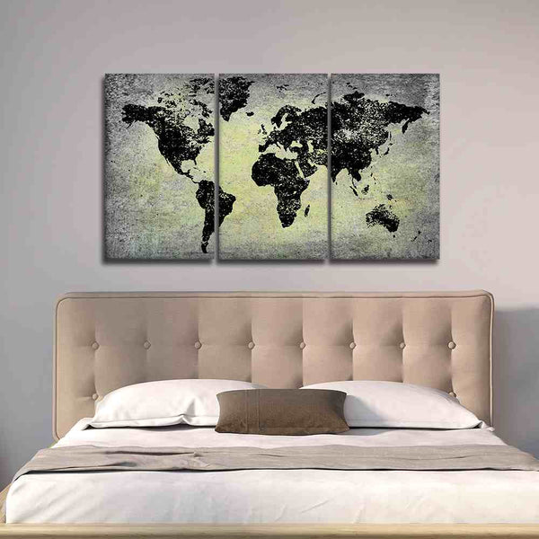 Black World Map on Stone-like Print