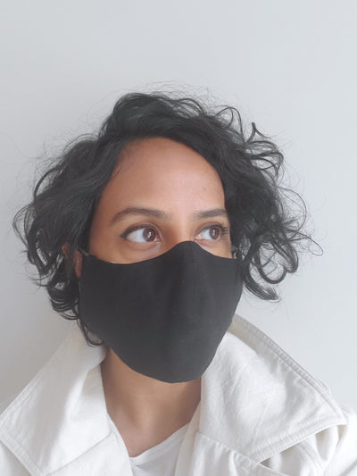 Face Mask in Black Cotton