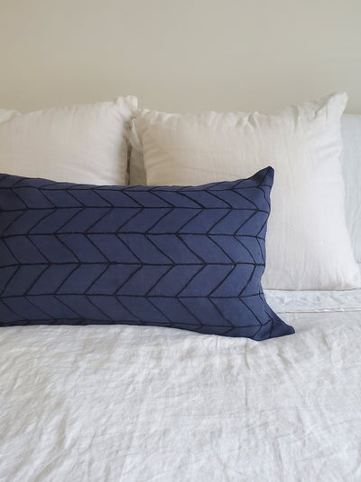 Chevron Navy Lumbar Pillow