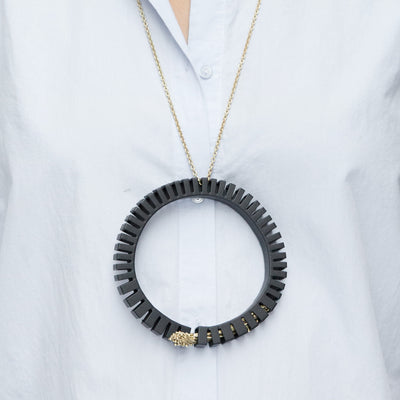 Black Flora Loop Necklace