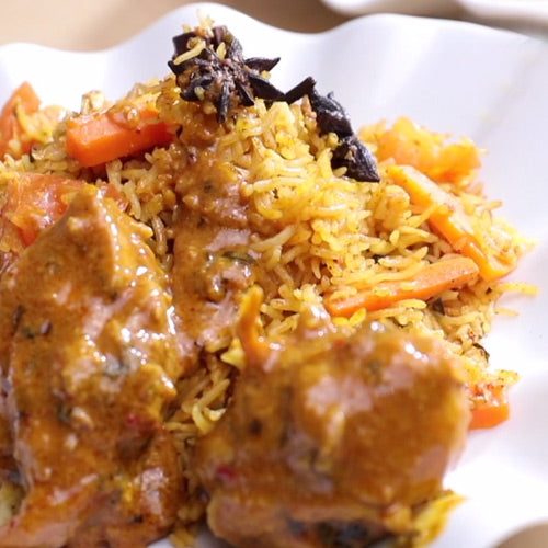 Nasi Briyani with Indian Curry Chicken