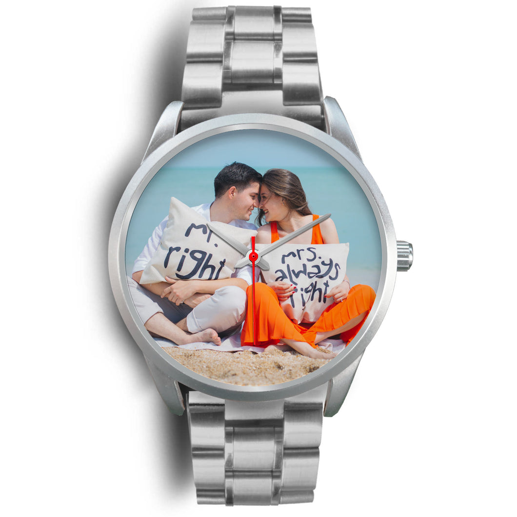 Personalized Silver Watch for Couple