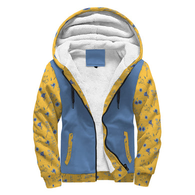Simple Floral Pattern Blue & Yellow Sherpa Hoodie