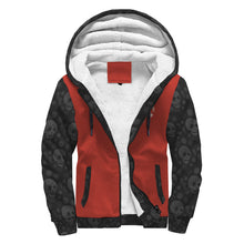 Red & Black Sherpa Hoodie with Skull Pattern
