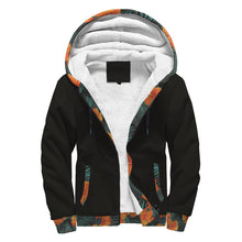 Black Sherpa Hoodie with Hibiscus Flower Pattern