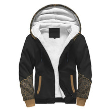 Black Sherpa Hoodie with Floral Pattern on Hood and Sleeves