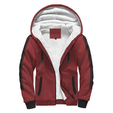 Red Sherpa Hoodie With Skull Lines On Arms