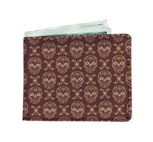 Brown skull pattern men's wallet