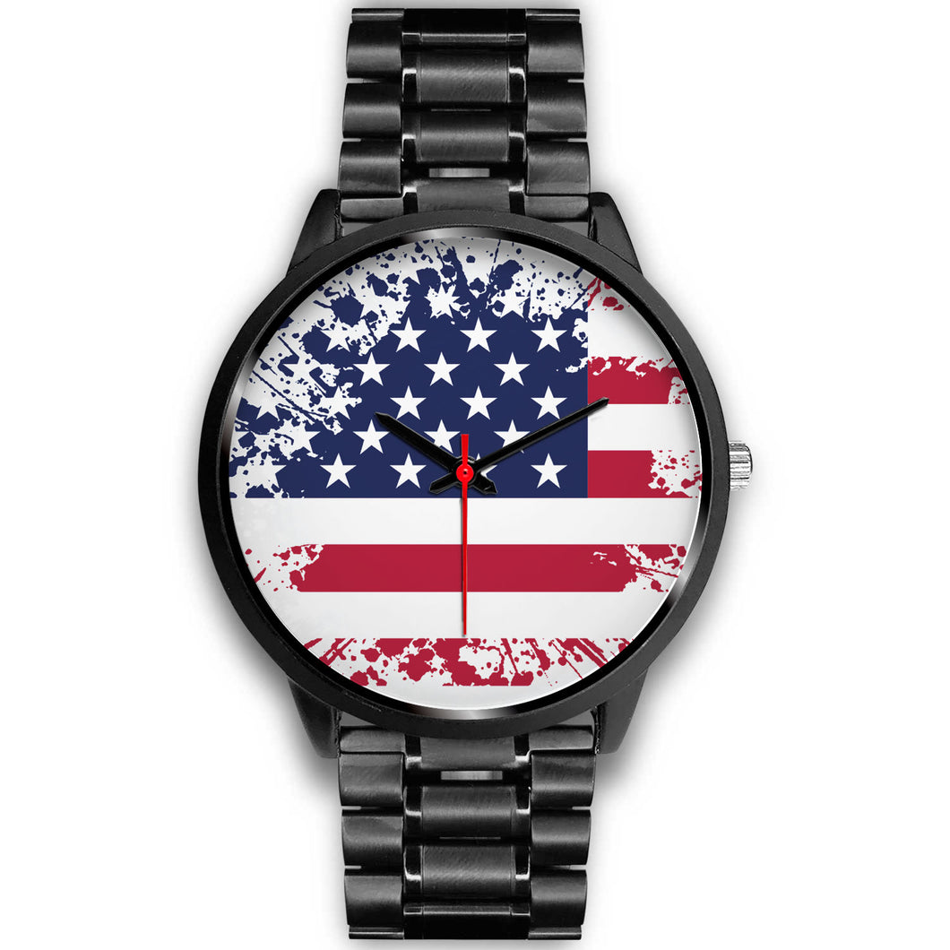 American Flag Black Metal Watch