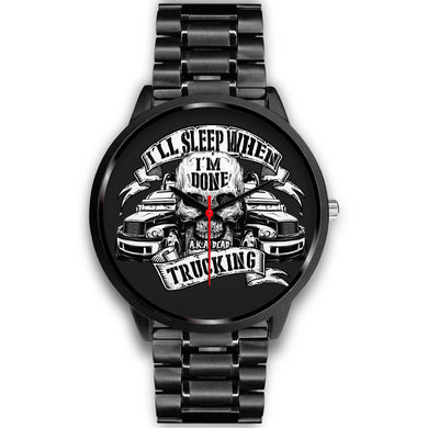 Trucking Drivers' Black Metal Watch