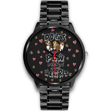 """Dogs Leave Paw Prints On Your Hear"" Black Metal Watch"