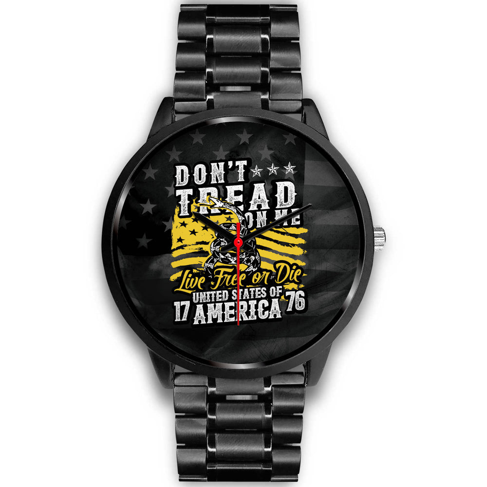 """Don't Tread On Me Live Free or Die USA"" Black Metal Watch"