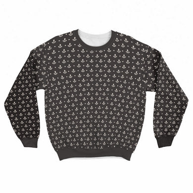 Anchor Pattern Crew Sweatshirt