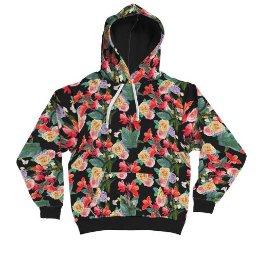 High contrast flowering pattern hoodie