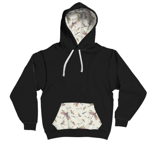 Dragon fly pattern contrast hoodie