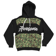 """Awesome"" Military Pattern Contrast Hoodie"
