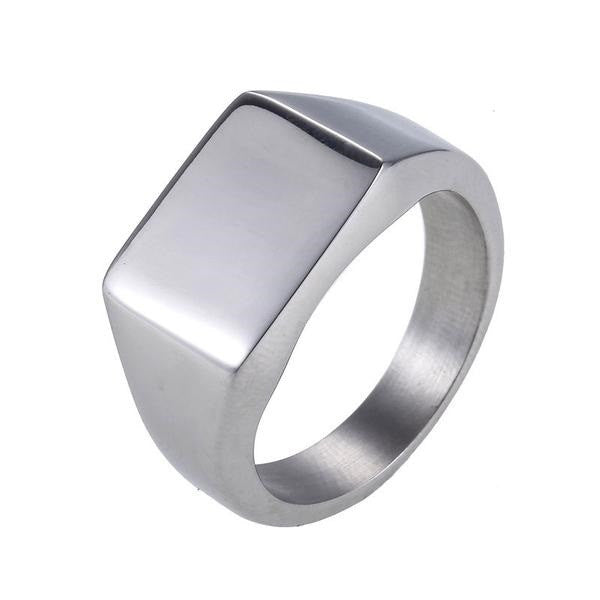 Smooth Square Signet Silver Color Stainless Steel Ring - Sky Bracelets