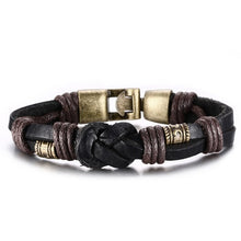 Vintage Leather Bracelet  Bronze alloy Buckle Classical Style - Sky Bracelets