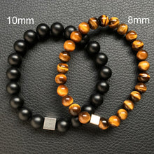 Natural Tiger Eye Stone With Charm Cubic Bracelet for Men - Sky Bracelets