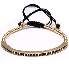 Gold Micro Pave Zircon Bar Braided Macrame Bracelet Stainless Steel Bangle - Sky Bracelets