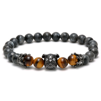 Flash Natural Stone SharPei Crown Beads Bracelet - Sky Bracelets