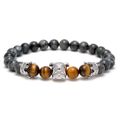 Flash Natural Stone SharPei Crown Beads Bracelet