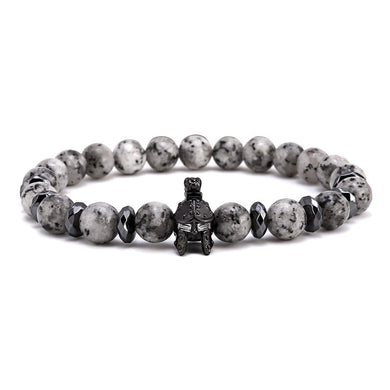 Roman Spartan Warrior Gladiator Helmet Gray Reflective Stone Beads Bracelet for Men - Sky Bracelets