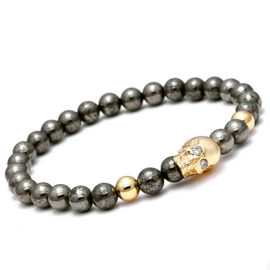 Nature Iron Energy Stone Beads Gold/Silver/Rose Gold/Black Gun Skull Charm Bracelet Men - Sky Bracelets