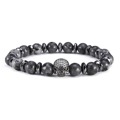 Micro Pave Zircon Harley Skull Charm Bracelet Men 8mm Natural Stone Gray Reflective Stone Buddha Bead Bracelets For Men - Sky Bracelets