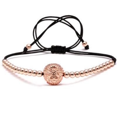 Rose Gold Lion Head Connector 4mm Steel Round Beads Braiding Macrame Bracelet for Men
