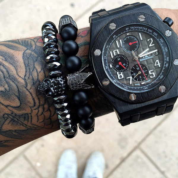 Black Titanium Steel Skull Onyx Natural Stone Beads Skull Charm Men Bracelet 8mm - Sky Bracelets