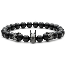 Black Imperial Crown Batman Charm Natural Stone Beads Bracelet for Men - Sky Bracelets