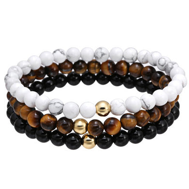 Natural Stone Black Charm Bracelet Tiger Eye Round Bead - White natural stone Gold Steel Beads Bracelets For Men - Sky Bracelets