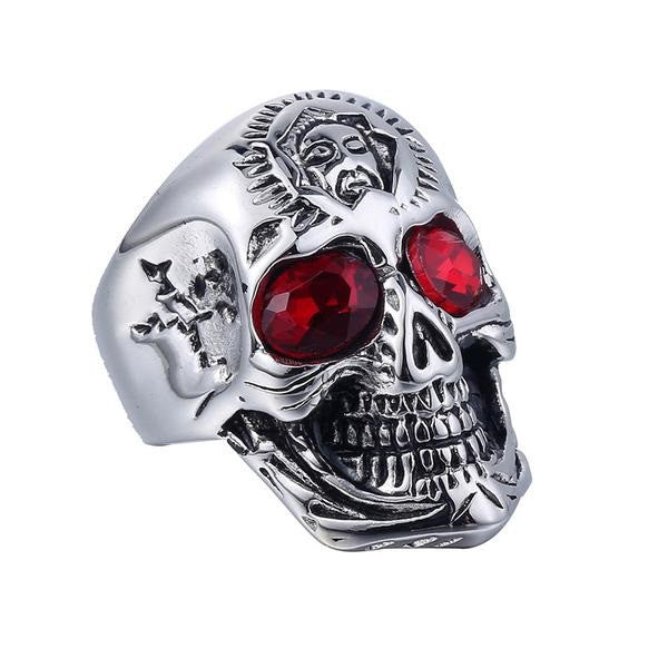 Stainless Steel Skull Red Rhinestones Men's Ring