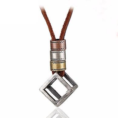 Vintage Leather Necklace with Stainless Cube Pendant - Sky Bracelets