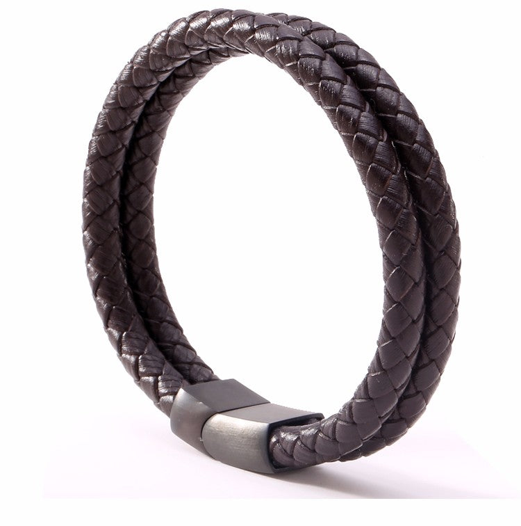 Double Braided Rope Genuine Leather Bracelet