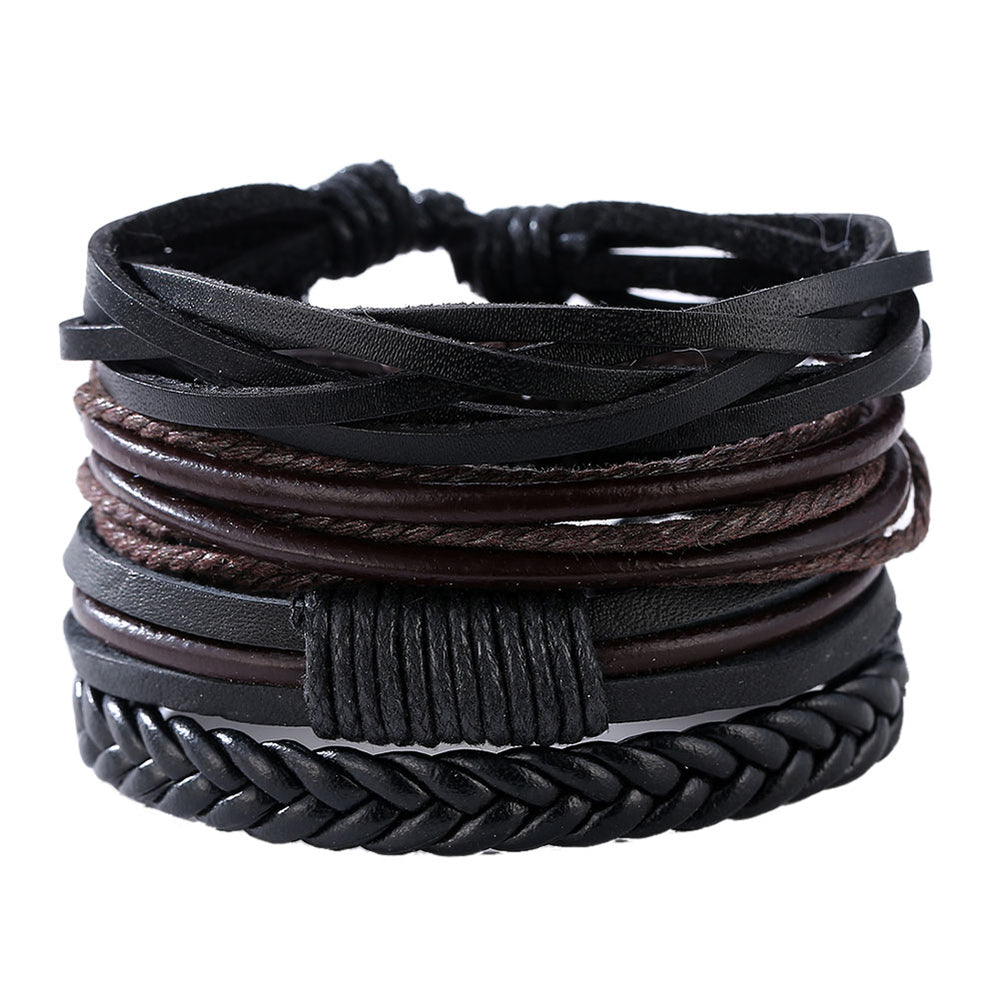 Braided adjustable leather stacked bracelets