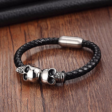 Genuine Leather Punk Skull Man Bracelet [new version]