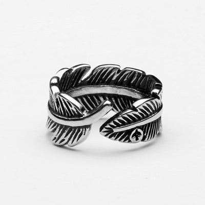 Vintage Feathers Titanium Steel 316L Ring
