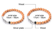 Natural Tree Fragrance Wood Bead Silver Plated Lotus & Fish Meditation Bracelet - Sky Bracelets