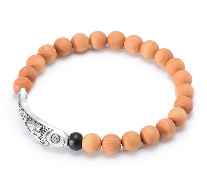 Natural Tree Fragrance Wood Bead Silver Plated Lotus & Fish Meditation Bracelet