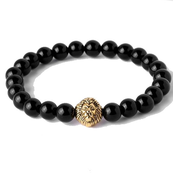 Lion Head with Crown Natural Onyx Stone Beads Bracelet