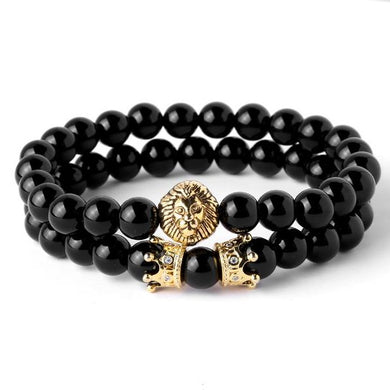 Lion Head with Crown Natural Onyx Stone Beads Bracelet - Sky Bracelets