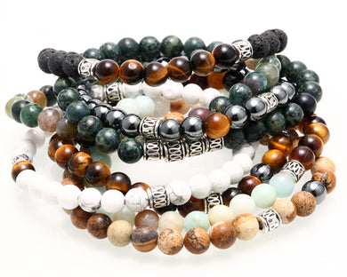 Natural Tiger Eye Stone Bead Bracelet - Sky Bracelets