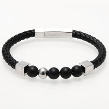 Black Onyx Stone Beads Genuine Leather Bracelet - Sky Bracelets