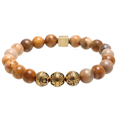 Natural stone titanium steel beads (10 mm) bracelet - Sky Bracelets