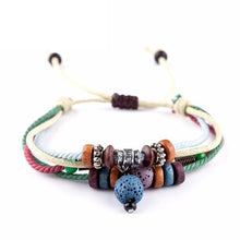 Handmade Blue Lava Stone Beads With Multi-color Ropes Bracelet - Sky Bracelets