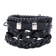 Braided adjustable leather stacked bracelets - Sky Bracelets